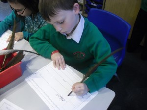 Mikey worked hard to create a certificate using a quill and ink.